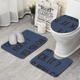 kick mats Australia - Can I Kick It Yes You Can blue 3 piece set bathroom, non-slip carpet set mat profile luxury bathroom rug