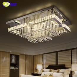 dimmer switches for lamps NZ - FUMAT Rectangle Luxury Crystal Lamp Modern Ceiling LED Dimmer Luminaire For Living Room Lustre K9 Crystal Chandeliers Lightings