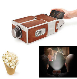 Wholesale Mini Portable Cinema DIY Cardboard Smartphone Projection Mobile phone Projector for Home Projector Audio Video Gift