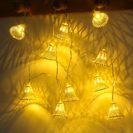 works bell NZ - Lamp String Cross-border Specialized For Wrought Iron Small Bell Coloured Lights Christmas Decoration Room Wedding Party Renovation Lamp