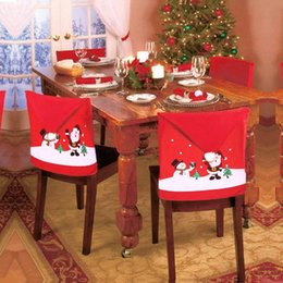 christmas hat chair covers Australia - 4 Pcs Non-woven Fabric Cartoon Old Man Snowman Snowman, Christmas Party, Red Hat Chair Decorating Covers