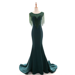 short silver tulle prom dresses UK - Abiye Emerald Green Mermaid Long Evening Dresses Beaded Crystal Vintage Evening Gowns Plus Size Middle East Abendkleider