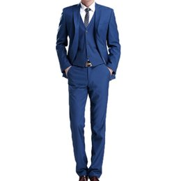 Chinese  Groom Tuxedos Royal Blue Mens Wedding Tuxedos Notch Lapel 3 Pieces One Button Designer Jacket Formal Blazer manufacturers