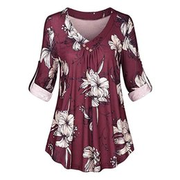 $enCountryForm.capitalKeyWord NZ - Plus Size Womens Tops And Blouses Floral Print Long Sleeve Blouse Women V-neck Ladies Top Red Elegant Women Weekend Casual Shirt