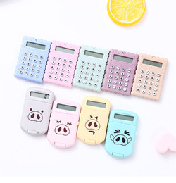 calculator batteries NZ - Cute Pig Calculator Candy Color Mini Cookies Counter Creative Office Supplies Gift For Student Free Shipping