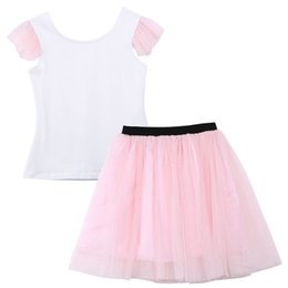 $enCountryForm.capitalKeyWord Australia - Vintage INS Designer Kids Girls summer parent-child outfits clothing Cotton baby Toddler Girl's Women Tull Splice Top and Bow Skirt