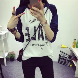 Discount generations clothing - women hood coat pullover autumn new Korean long-sleeved women's t-shirt round neck loose women's clothes suppl