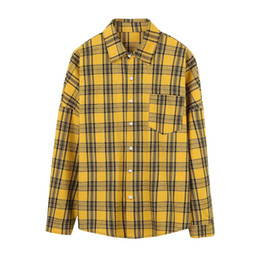 Discount mens white high collar shirt - 2019 fashion men s clothing new plaid mens casual shirt male Harajuku bf loose type jacket long sleeved cotton shirts wi