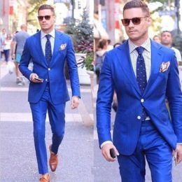 Light bLazers online shopping - Brand New Royal Blue Men Wedding Tuxdos Notch Lapel Groom Tuxedos Excellent Men Jacket Blazer Piece Suit Jacket Pants Tie