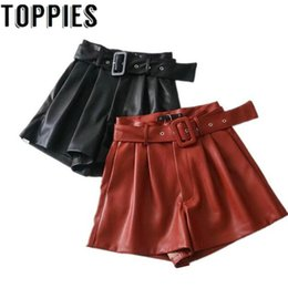 high waist black leather shorts NZ - Women Black Orange Color PU Leather High Waist with Belt Wide Leg Faux Leather Shorts High Quality Winter Loose PU Shorts T200102