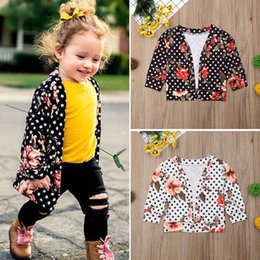 long black cardigan girls NZ - 2018 Multitrust Brand Child Kids Baby Girl Boho Flower Cardigan Coat Long Sleeve Tops Outwear Polka Dot Spring Autumn Clothes