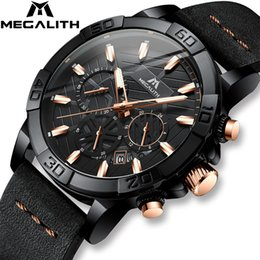 leather strap watch white men UK - 2019 Top Brand Watch Men MEGALITH Luxury Sport Chronograph Waterproof Watch Men Black Leather Strap Clock For Men Relojes Hombre LY191213