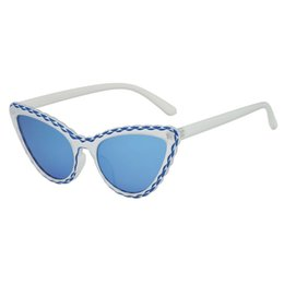 Integrated Products Australia - New Fashion 2019 products Women's Cat Eye Shade Sunglasses Integrated Stripe Vintage High Quality summer party sunglasses #7