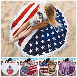 $enCountryForm.capitalKeyWord Australia - Independence Day Tassels Beach Towels 22 Colors 150cm Round Print Sunshade Towel Shawl Picnic Blanket Bathing Towel Yoga Mat BH2131 TQQ