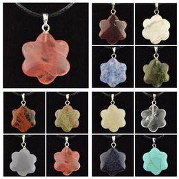 Cheap Turquoise Pendants Australia - Gemstone Necklace Natural Stone Pendant Quartz Crystal Point Chakra Healing Turquoise Women Men Jewelry Cheap Clover Stone Leather Necklace