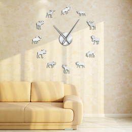 diy watches NZ - Wildlife Moose DIY Giant Wall Clock Moose Silhouette Decorative Frameless Wall Watch Modern Nature Animal Wall Art Hunting Clock Y200110