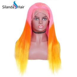 $enCountryForm.capitalKeyWord Australia - Silanda Hair 3 Tone Dyed Ombre Color Pink Orange Yellow Straight Brazilian Remy Human Hair Lace Front Full Lace Wigs Free Shipping
