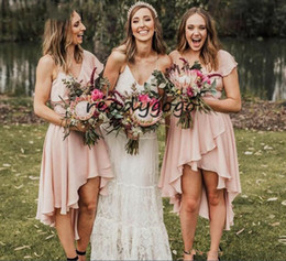 High Low Coral Junior Bridesmaid Dresses Australia - Blush Pink High Low Beach Bridesmaid Dresses 2019 Modest Chiffon V-neck Short Sleeve Western Country Junior Maid of Honor Bridesmaid Gown