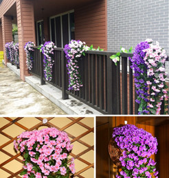 Violet plants online shopping - 90cm long Lifelike Violet Orchid Ivy Artificial Flower Hanging Plant Silk Garland Vine for Wedding Centerpieces Decorations Bouquet Garland