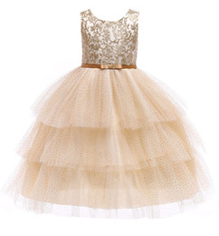Gold Tutu For Baby Australia - Baby Girls Gold Lace TUTU Dress 2019 Kids Dresses For Girls Princess Dress Infantil Party Layered Dress Girl Wedding Clothes