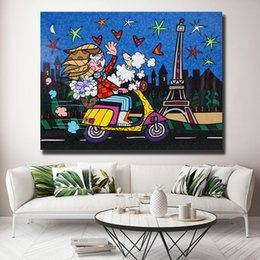 Canvas Print Paris Australia - Romero Love Paris By Celebration Children Canvas Painting Wall Picture Poster And Print Decorative Home Decor