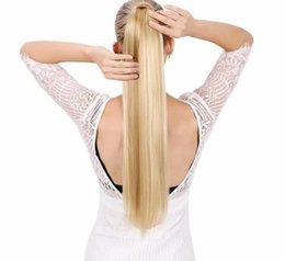 $enCountryForm.capitalKeyWord UK - Long Straight Ponytail False Hair Extension Wrap Around Clip In Heat Resistant Synthetic Hairpiece Pony