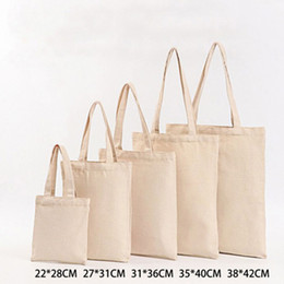 wholesale reusable tote bags Australia - 6 Sizes Linen Grocery Foldable Bag Shopping Bag Pure Color Shopping Storage Reusable Eco Tote Handbag Casual