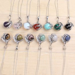 $enCountryForm.capitalKeyWord Australia - wholesale Classic Silver Plated Chain Mixed Stone Dragon Claw Round Beads Pendant Necklace Jewelry K3768