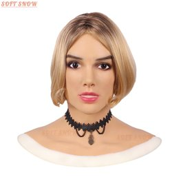 Chinese  softsnow Manufacturer direct supply BCS beauty mask cross-dressing drag queen party mask breast forms Silicone head cover a man disguised in manufacturers