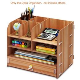 Multi-função Madeira desktop Stand Holder Escova Caixa de armazenamento Para Pencil Pen organizer Jóias Display Rack em Promoção