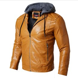 Premium Coating Australia - spring new years men PU leather jacket male coat leather clothing business casual hooded Long Sleeve Premium Zip Up Man Faux Leather Jacket