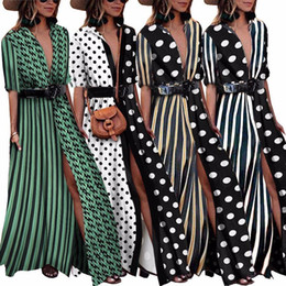 $enCountryForm.capitalKeyWord NZ - Tryeverything Green Boho Dresses For Women 2019 Maxi Cotton Long Dress Summer Deep V Neck Sexy Ladies Dresses With Belt Clothing Y190410