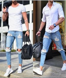 Wholesale tight light blue men for sale – denim Mens Jeans Blue Denim Ripped Slim Fit Tight jeans Light Color Hole Male Skinny Pencil Pants Casual Trousers With Zippers