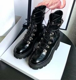 thick white lace Australia - women winter boots Martin shoes cool motorcycle boot Lace up with zipper boot Thick soles are waterproof and breathable black white d