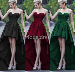 $enCountryForm.capitalKeyWord NZ - High-Low Lace Prom Dresses Sweetheart Sleeveless Appliques Party Gowns Unique Stylish Evening Dresses Backless Train Chic Vestidos De Fiesta