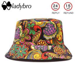 Black ladies sun hat online shopping - Ladybro Autumn Women Hat Cap Men Bucket Hat Flat Top Lady Sun Male Floral Cap Female Summer Hip Hop Bob Chapeau Femme