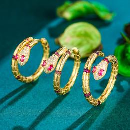 Copper Earrings Australia - Tuliper Snake Animal Earrings Ring Set Copper Cubic Zircon Jewelry Set Women Girl Party Best Gift
