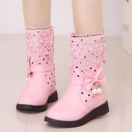 korean winter fashion boots Canada - Size 27-37 Winter Girls Boots new Korean Fashion Bow lace children's high boots big kids slip plus velvet princess Girls
