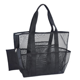 bottle tote bags NZ - Mesh Beach Tote Bag Large Capacity For Towels Water Bottles Swimming Goggles Suit Outdoor Skin Care Products Beach Necessities