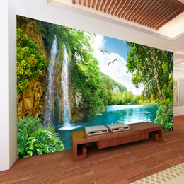 nature print paper Australia - Jointless Custom 3D Wall Mural Wallpaper Home Decor Green Mountain Waterfall Nature Landscape 3D Photo Wall Paper Living Room