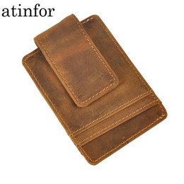 $enCountryForm.capitalKeyWord Australia - Vintage Genuine Leather Money Clip Front Pocket Clamp For Money Holders Magnet Magic Money Clips Wallet With Card Id Case T190620