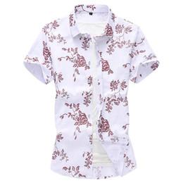 Men Flower Print Shirts Australia - Flower Printed Big And Tall Linen Shirts 7XL 6XL 5XL 4XL Plus Size Men Streetwear Hawaiian Shirt Short Sleeve Summer Blouse Men