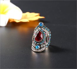 pink blue rings Australia - 2019 new fashion for women and men 18K gold plated pink crystal blue diamond vintage female ring accessories xizi love ring wholesale