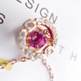 Aleación de material Vacío Plating 18K Real Gold Gemstone Necklace Beating Heart en venta