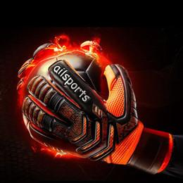 Venta al por mayor de 1 par de guantes de portero profesional protección para los dedos engrosada látex de fútbol guantes de portero de fútbol guantes de portero de fútbol para niños adultos