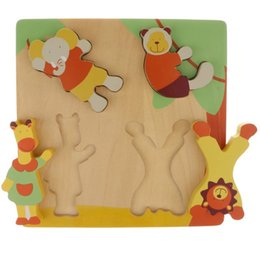 Toddlers Puzzles Australia - Wooden Animal Jigsaw Puzzle Matching Game Montessori Early Learning Educational Toys Birthday Gift for Children Toddler Kids