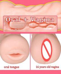 Realistic Male Masturbation Toys Australia - Realistic Vagina Oral Double Pocket Pussy Male Masturbator Blowjob Men Masturbation Cup Artificial Mouth Tongue Adults Sex Toy For Man 15