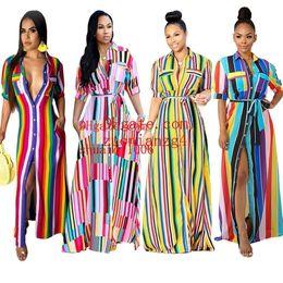 Strip Skirt Australia - Ts836 Women's Clothes Leisure Time Color Strip Printing Long Shirt Skirt Two Colour