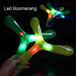 luminous disk 2019 - Led Boomerang outdoor fun sports Plastic Luminous LED Lights Boomerang Outdoor Park special flying Toys Flying Disk sauc