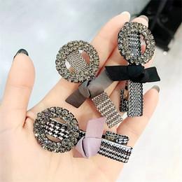 $enCountryForm.capitalKeyWord Australia - Designer Czech Diamond Women Barrettes Fashion Fabric Bow Tie Hair Clips Top Quality Lady Hair Clip Hair Jewelry